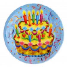 Тарелки бумажные ламинированные Праздничный торт 6шт 23см